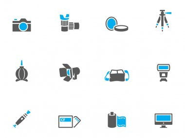 Photography icons in duo tone colors.
