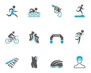Triathlon icon series in duo tone colors
