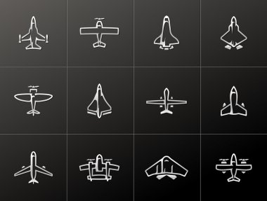 Airplane silhouette icons in metallic style