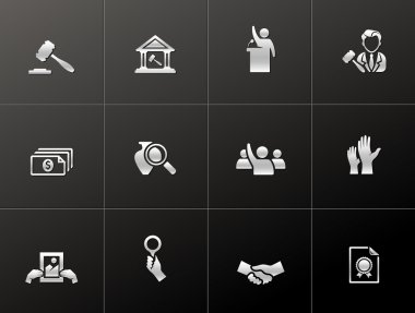 Auction icons in metallic style
