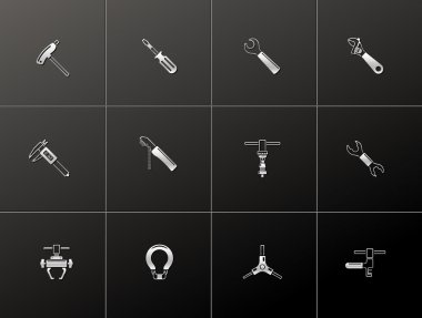 Bicycle tools icon series in metallic style