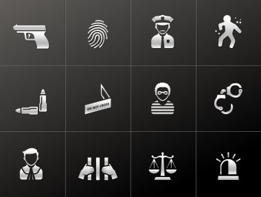 Crime icons in metallic style