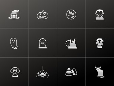 Halloween icon series in metallic style