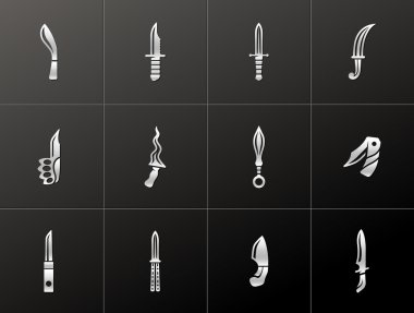Knife icons in metallic style