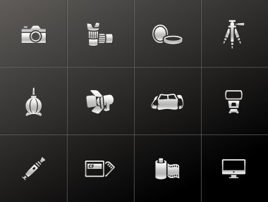 Photography icons in single color.