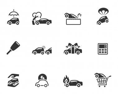 Car insurance icons in single color