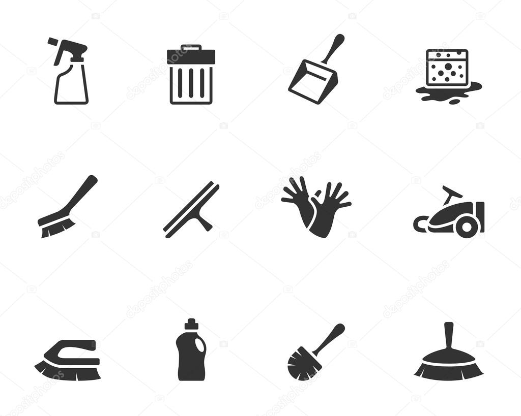 Cleaning tool icon series in single color.