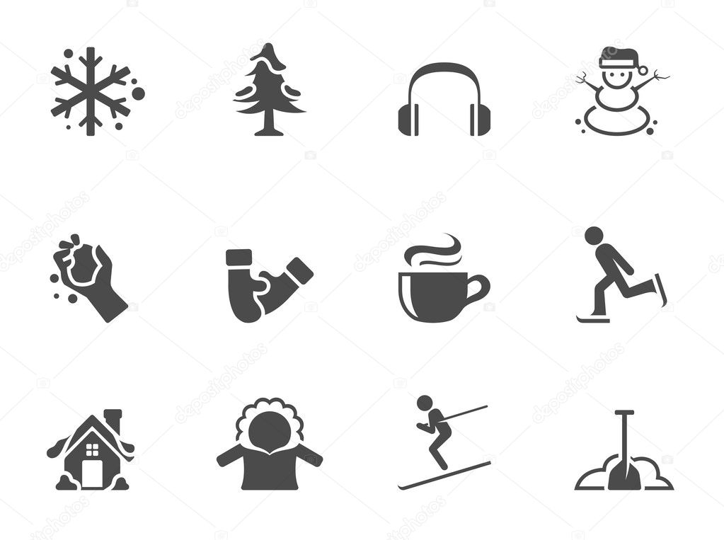 Winter icons in single color