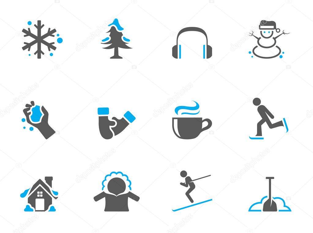 Winter icons in duo tone colors