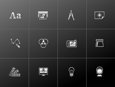 Printing & graphic design icon series in metallic style