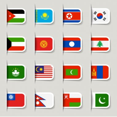 Label - Asian Flags