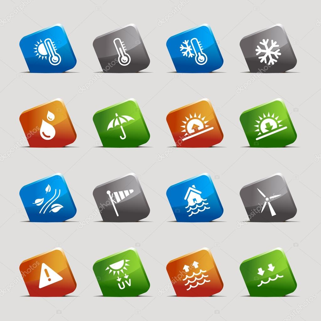 Cut Squares - Weather Web Icons