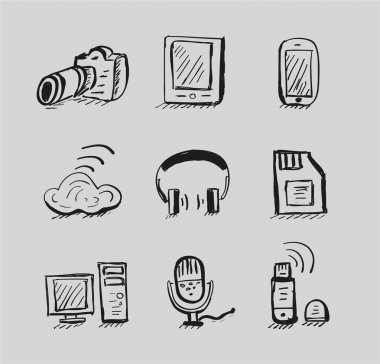 Hand drawn mobile devices vector black icon set