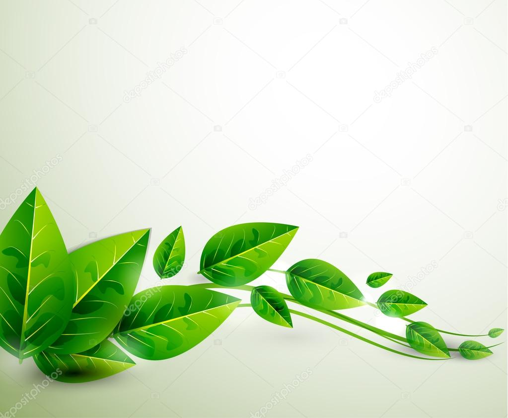 Nature green leaves | Vector flying leaves abstract background