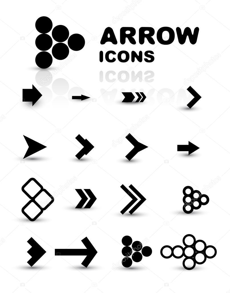 Vector set of black arrow icons