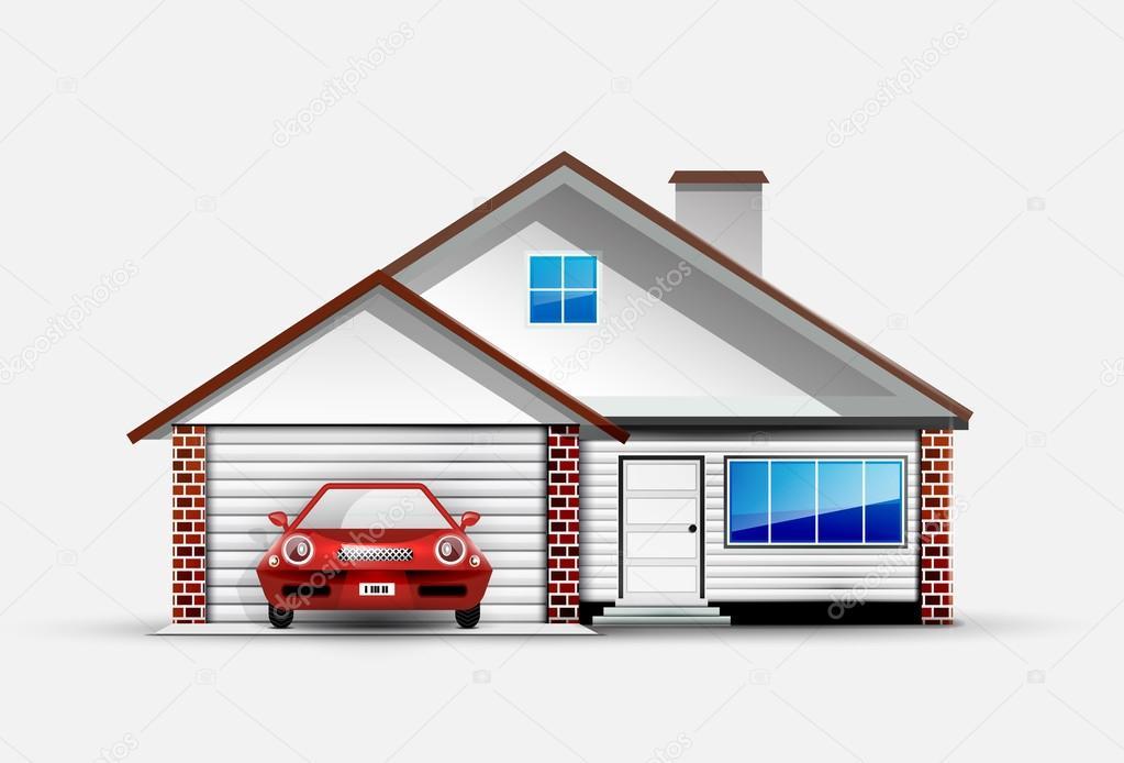Casa y auto deportivo rojo cerca de garaje vector de for Una dimensione del garage per auto