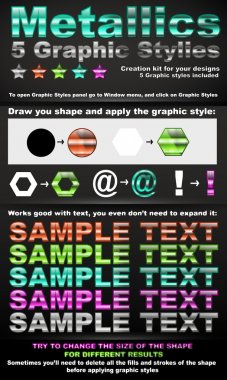 5 metallic graphic styles vector