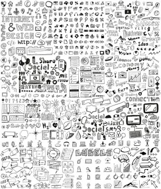 Huge set of business, social, technology hand drawn elements / doodles stock vector