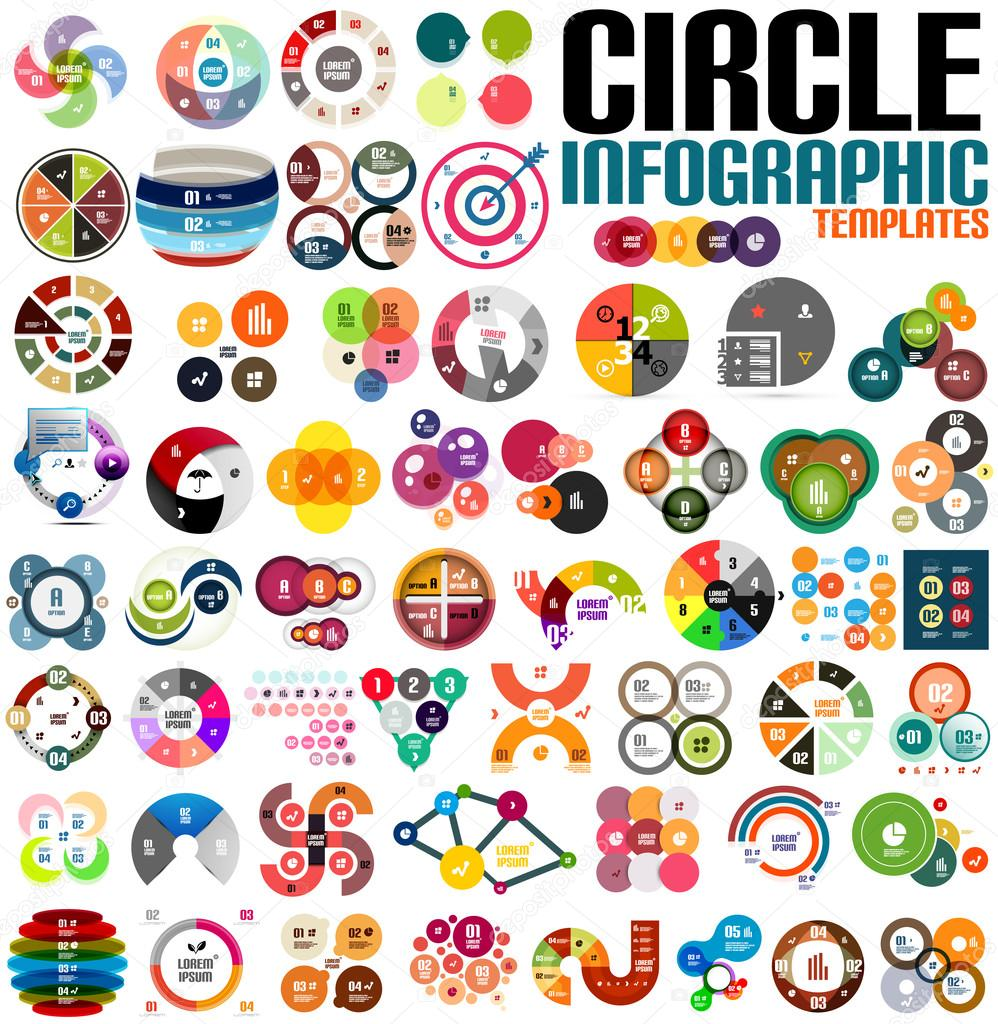 Huge modern circle infographic design template set