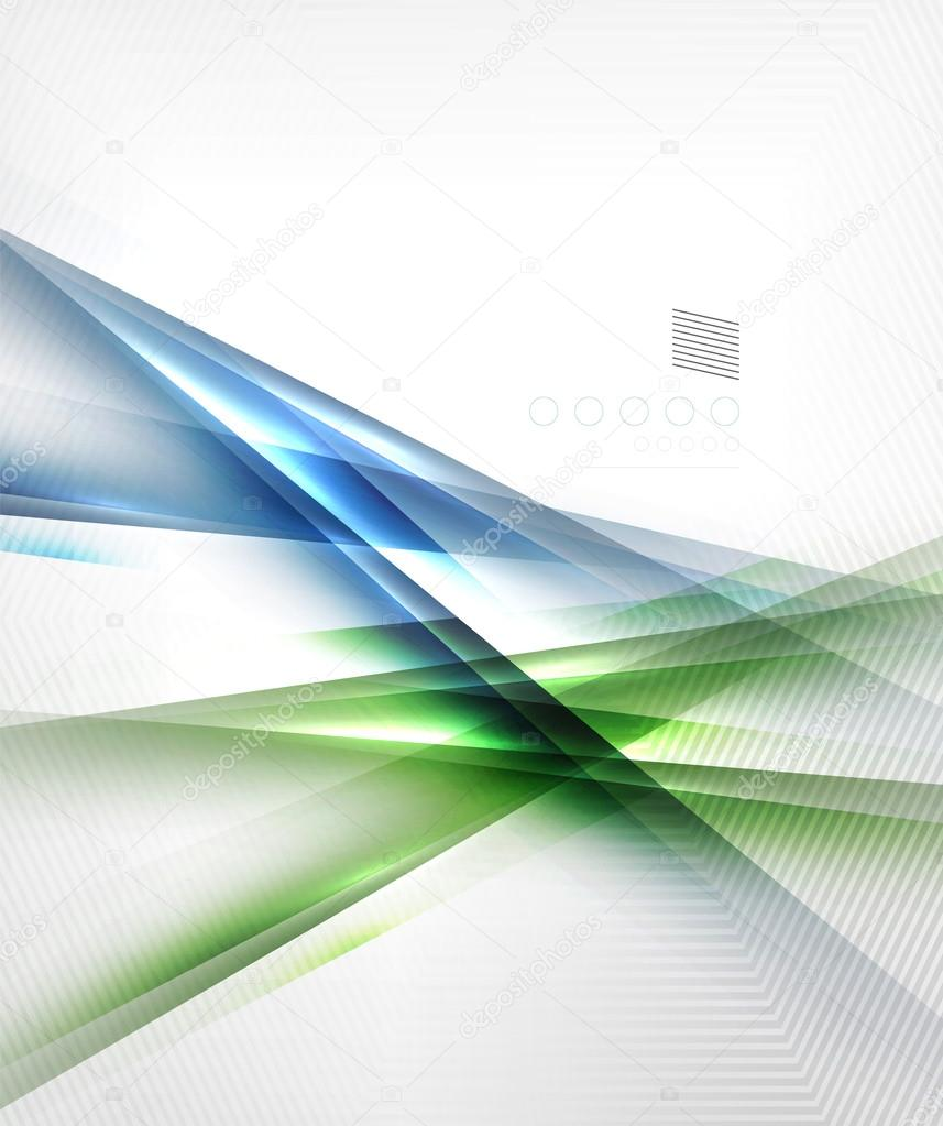 Green and blue abstract lines isolated on white