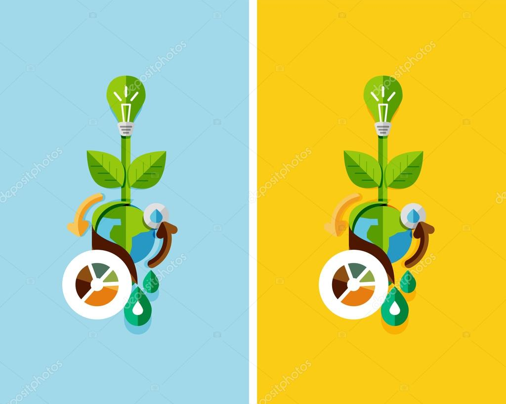 Flat design nature concept: green energy