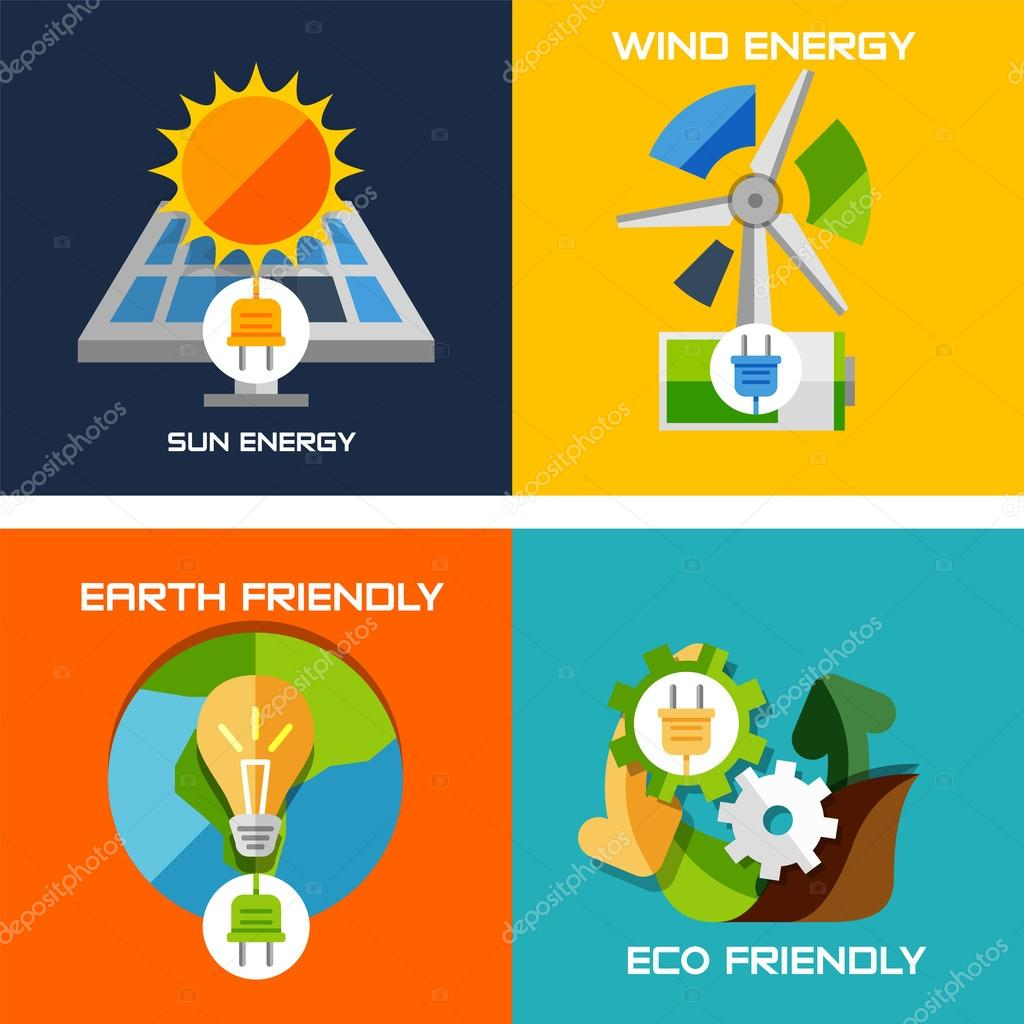 Set of flat design concepts - green energy