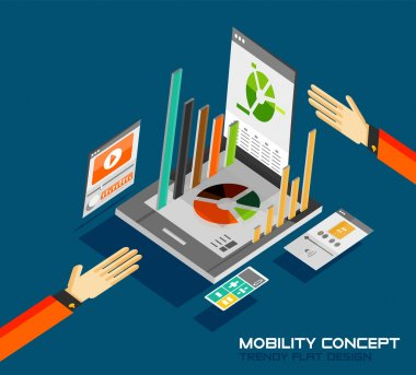 Mobility concept flat design. 3d tablet with graphics, calculator, movie, music concepts stock vector