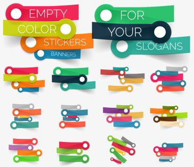 Vector collection of paper sticker banners