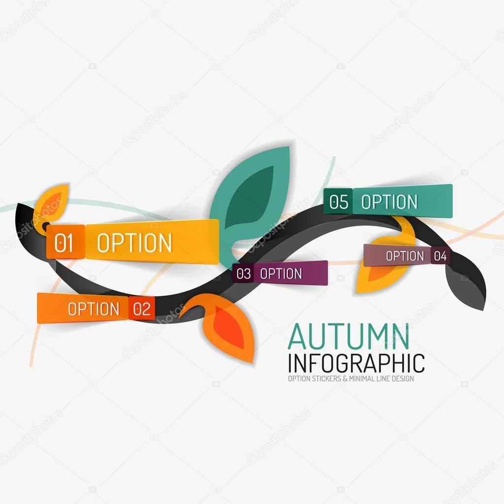 Floral swirl autumn infographic report, minimal