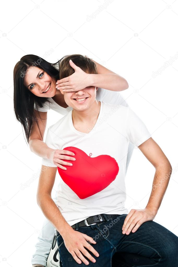 woman gives a man a heart