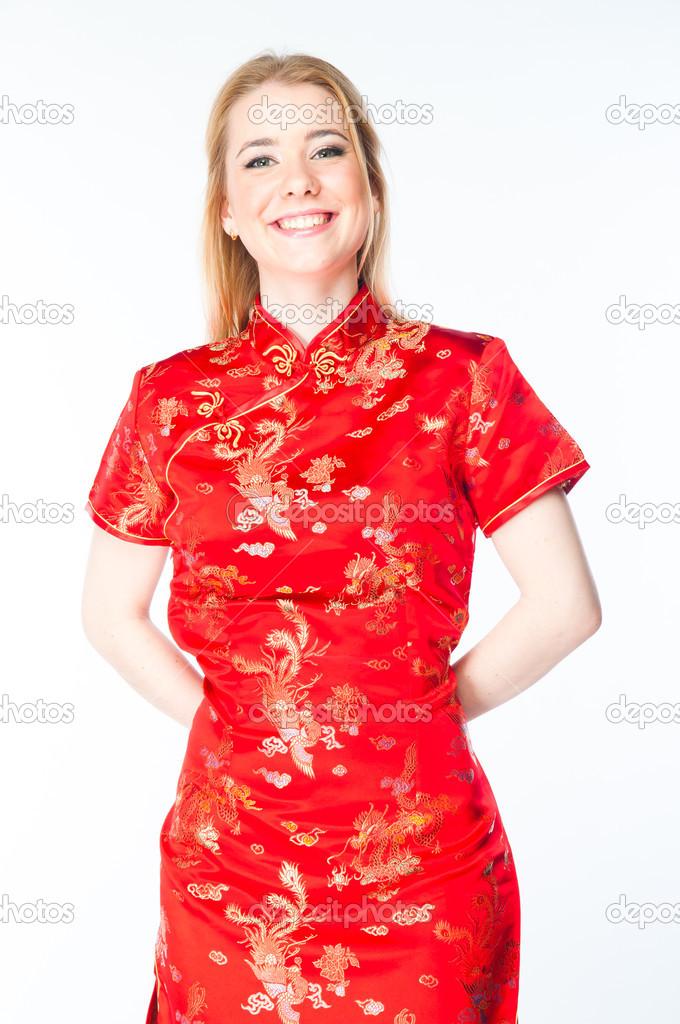771f2c80278f donna in un vestito cinese rosso — Foto Stock © korvin79  30423423