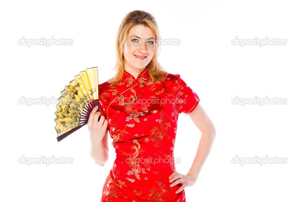 99892db58b07 donna in un vestito cinese rosso — Foto Stock © korvin79  30423823