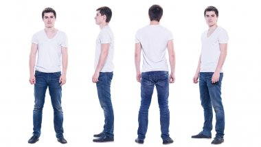 Collage photo of a young man in white t-shirt isolated, front, back, side view.