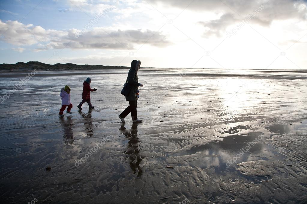 People looking for amber at the beach of the Island of Fanoe in