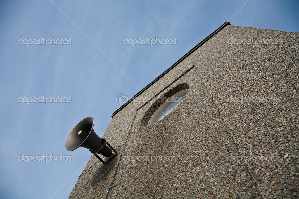 Old house with a loudspeaker. Island of Fanoe in Denmark
