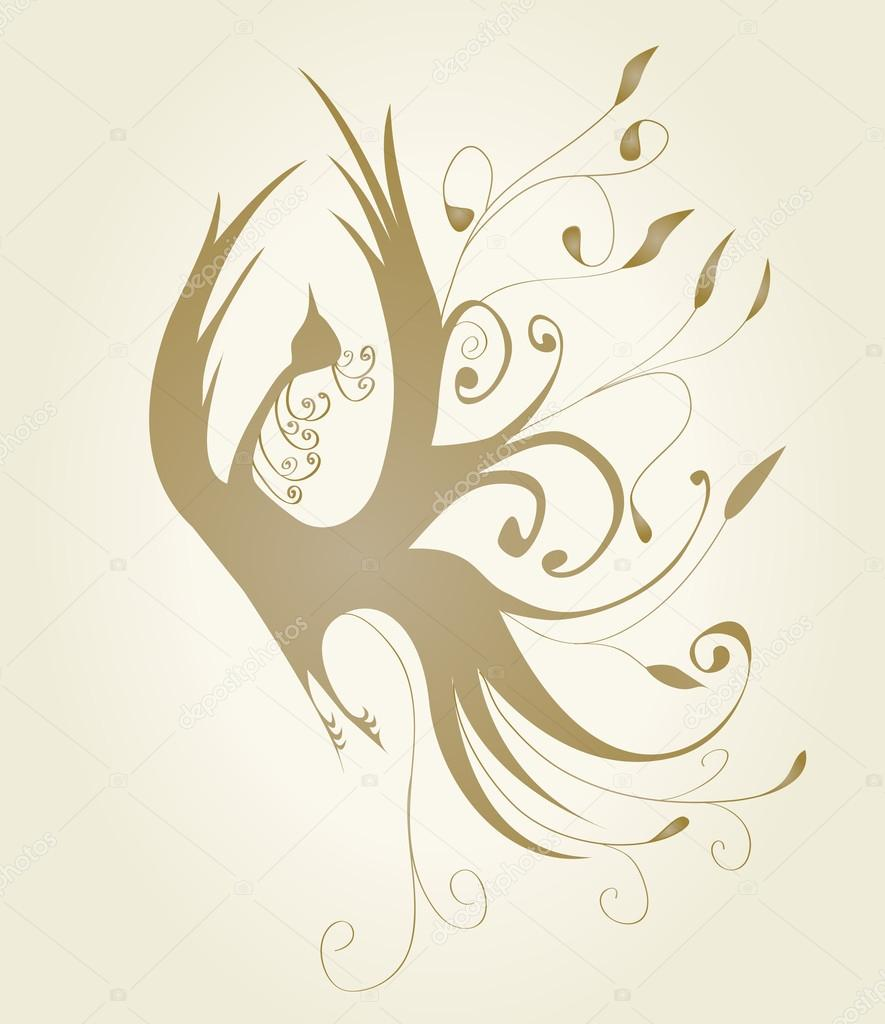 Gold bird with curls