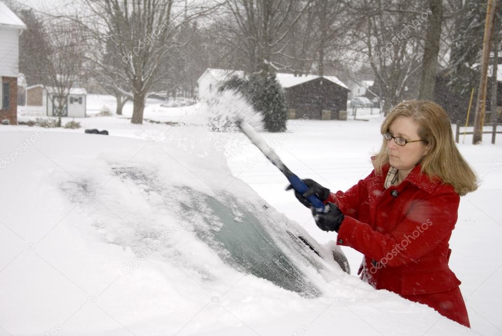 Woman Removing Snow From Car 8 Woman Removing Snow From Car 8