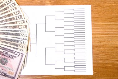 March Madness Bracket and Fanned Money