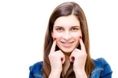 Happy teenage girl funny smiling