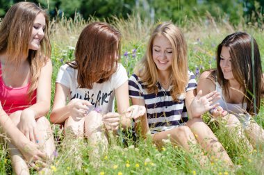 Four happy teen girls sitting on green lawn and sharing secrets