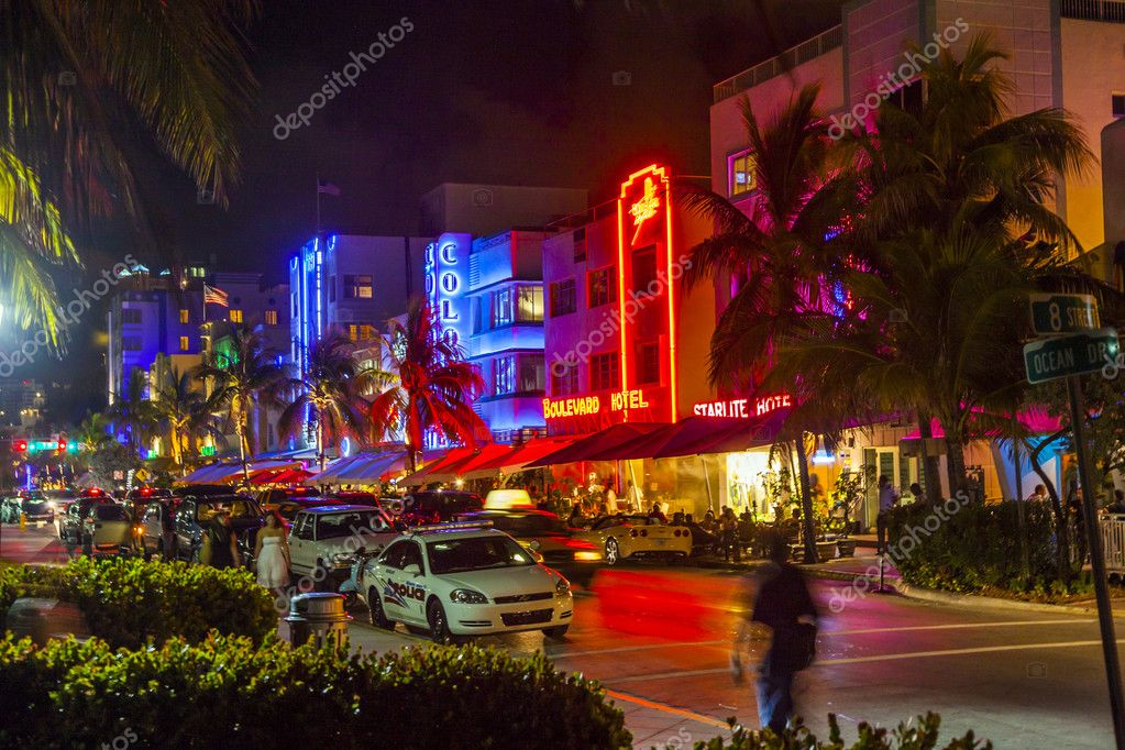 Enjoy Nightlife At The Colorful Ocean Drive By Night Stock