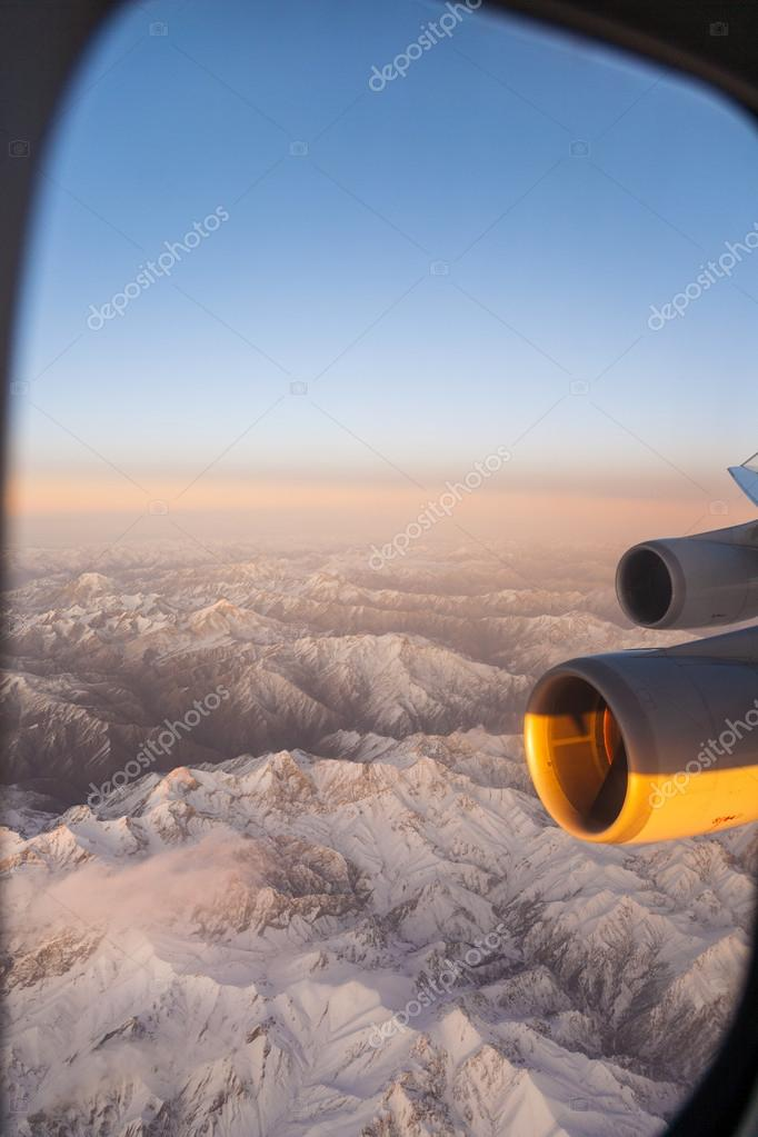 Beautiful view from the aircraft to the mountains in Tashkent,