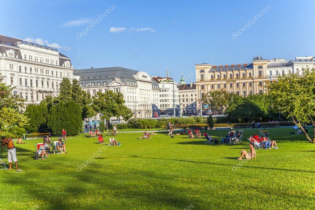 public green area Sigmund Freud Platz,, lawn for sunbathing is u