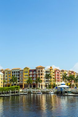 Colorful Spanish influenced buildings overlooking the water in t
