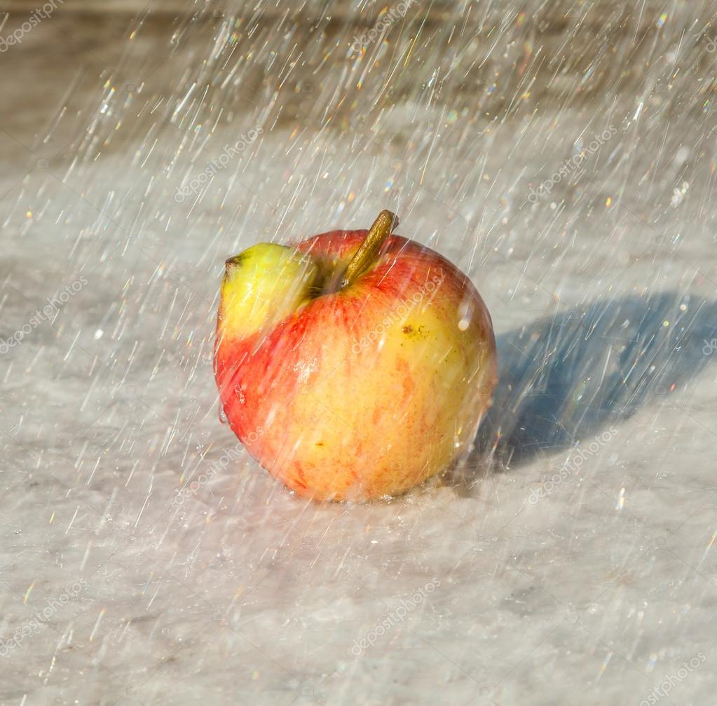 fresh apples with deformations