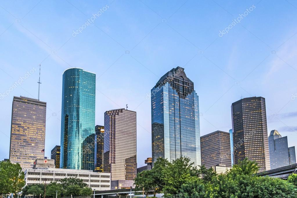 Skyline of houston in the evening