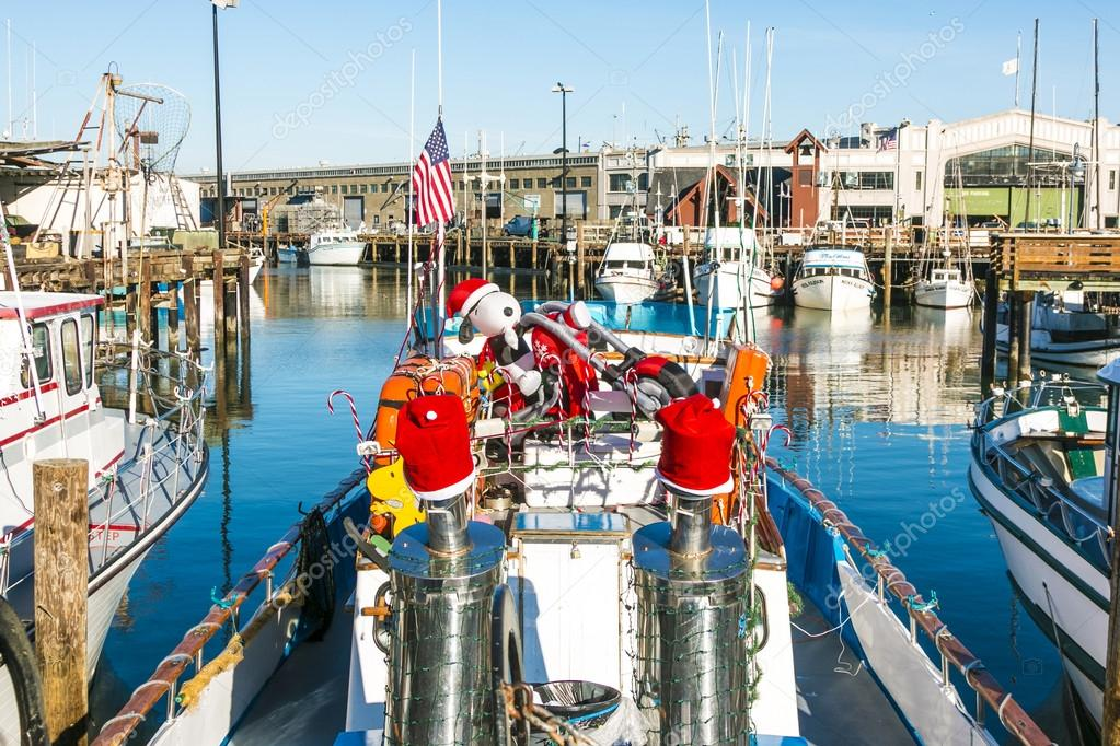 sailing boats at Fishermans Wharf with cristmas decoration