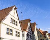 Satteldach eines traditionellen deutschen Fachwerkhauses im Mittelalter