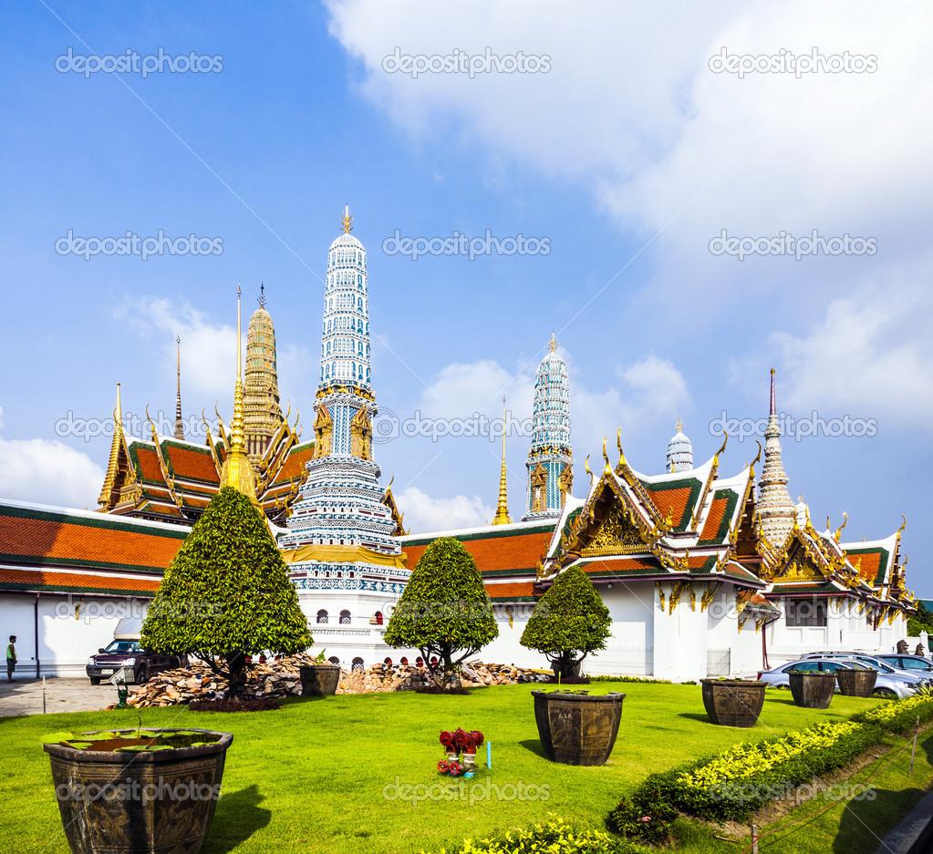 Stupa at Wat Phra Kaew temple (pagoda in temple of the Emerald B