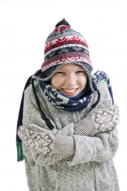 Boy freezing in cold winter